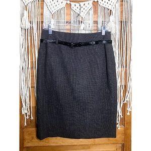 Apt. 9 Dark Grey/ Brown Belted Pencil Work Skirt